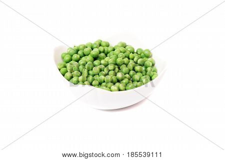 Fresh green peas vegetable. Pea pod with leaves on white background. Organic food