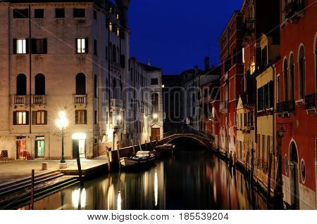 Venice by night - picturesque view of a canal Venezia Italy