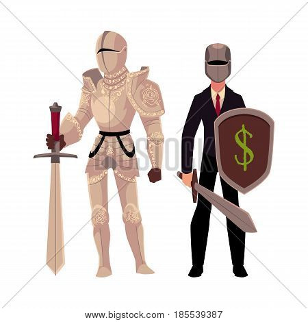 Medievel and modern, businessman knight in metal armor and business suit, cartoon vector illustration isolated on white background. Two knights - modern and medievel, standing, holding sword