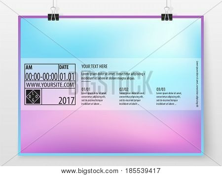 Poster Design Banner Business Concept Holographic Horizontal 2