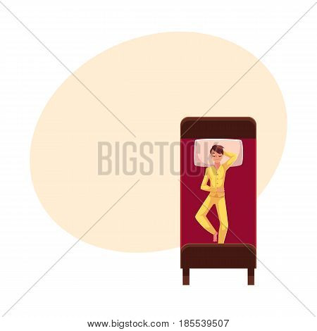 Man sleeping in bed, wearing pajamas, lying on back uncovered, top view cartoon vector illustration with space for text. Top view of man sleeping sweetly on his back, wearing pajamas, lying in bed