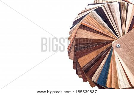 wooden samples for furniture isolated on white