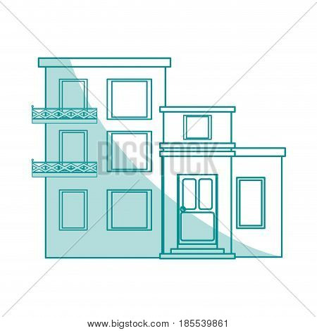 blue shading silhouette cartoon facade comfortable lodgings apartments with several floors vector illustration