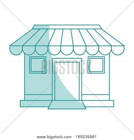 blue shading silhouette cartoon facade shop store vector illustration