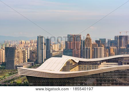 Chengdu Global Center Roof With Buildings In The Background