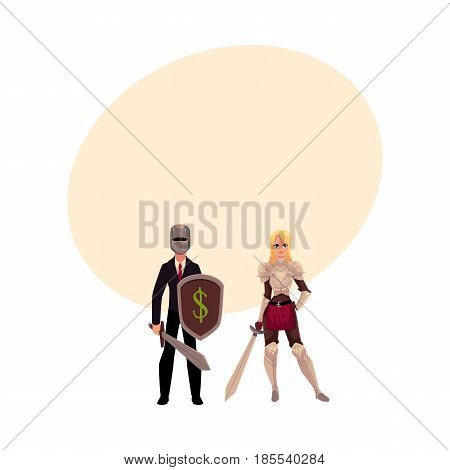 Two knights - modern businessman warrior and medieval armored woman - holding swords, cartoon vector illustration with space for text. Modern business knight, beautiful medieval woman knight