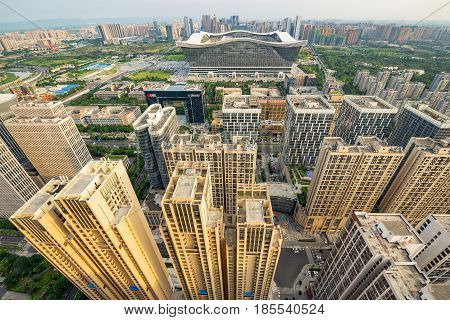 Chengdu Global Center And Buildings Wide Angle