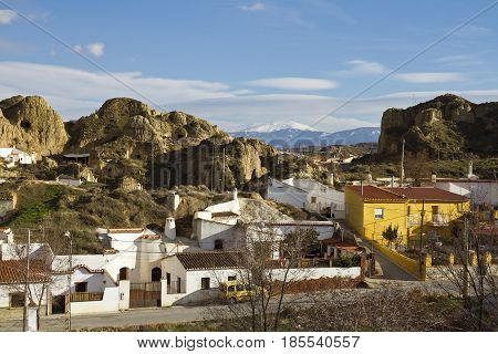 Guadix lies between the Sierra Nevada mountains and has lunar-like landscape.
