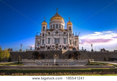 Evening mood of a sunset on Christ the Savior Cathedral. Russia.