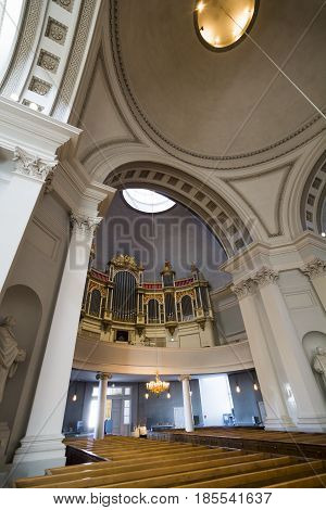 Interior of Helsinki cathedral in the Finnish capital