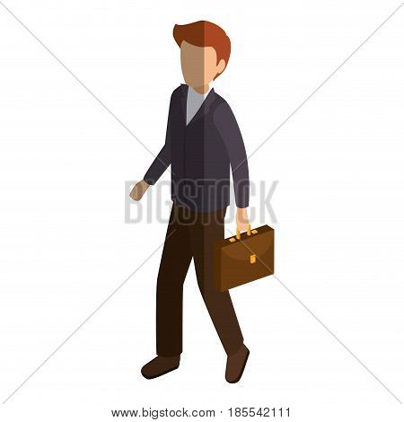 businessman isometric avatar character with portfolio vector illustration design