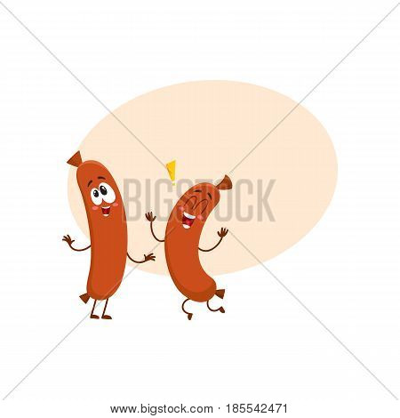 two cute and funny sausage character with human face jumping excitedly, cartoon vector illustration with space for text. Happy, excited sausage character, mascot, exclamation mark