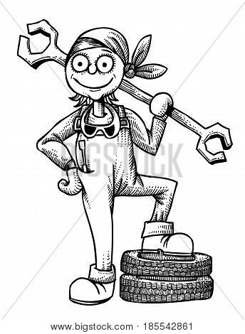Cartoon image of female mechanic. An artistic freehand picture.