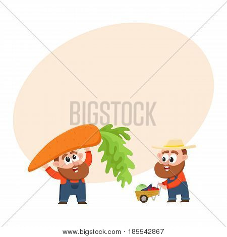 Funny farmer, gardener characters in overalls harvesting vegetables, holding giant carrot, pushing handcart, cartoon vector illustration with space for text. Comic farmer characters, harvest