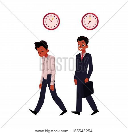 Black, African American businessman, one tired and stressed, another happy in business suit, cartoon vector illustration isolated on white background. Black businessman, employee, happy and frustrated
