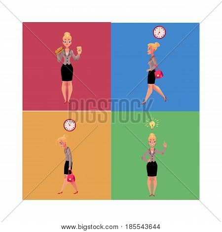 Young beautiful businesswoman in various business situations, cartoon vector illustration. Pretty businesswoman, business lady in various situations, career concept