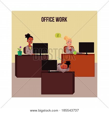 Office life poster, banner with young white and black business women, working on computer, snoozing, thinking about money, cartoon vector illustration. Typical businesswomen poster, office life