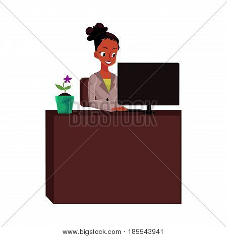 Black, African American businesswoman, secretary, working on computer at office table, cartoon vector illustration isolated on white background. Black businesswoman, secretary working on computer