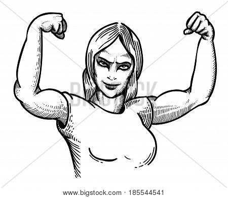 Cartoon image of gym woman. An artistic freehand picture.