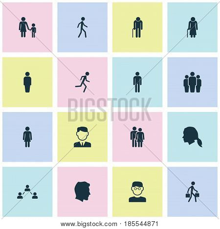 Human Icons Set. Collection Of Gentlewoman Head, Grandpa, Work Man Elements. Also Includes Symbols Such As Woman, Gentlewoman, Team.