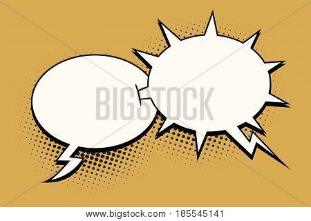The ball and spikes comic bubble. Sharp dialogue. Comic cartoon style pop art retro color vector illustration