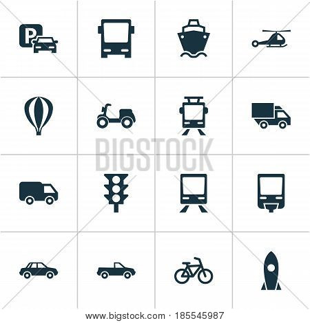 Shipment Icons Set. Collection Of Skooter, Airship, Spaceship And Other Elements. Also Includes Symbols Such As Bicycle, Railroad, Autobus.