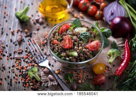 Lentil salad with veggies healthy food vegetarian and vegan snack clean eating diet detox