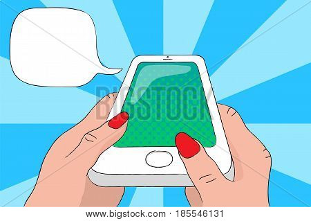 Mobile phone in hands with text bubble. Smartphone pop art vector illustration. Speaking cellphone with empty screen. Touchscreen phone in woman's hands. White phone with round button banner template