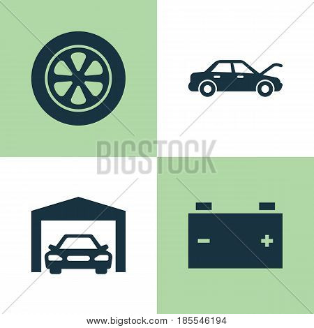 Automobile Icons Set. Collection Of Repairing, Fixing, Accumulator And Other Elements. Also Includes Symbols Such As Hood, Fixing, Garage.