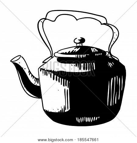Cartoon image of old black kettle. An artistic freehand picture.