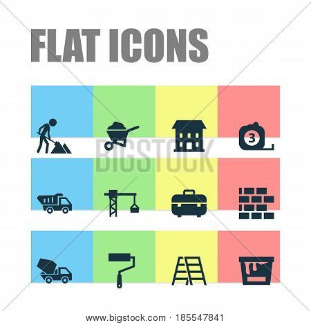 Industry Icons Set. Collection Of Stair, Lifting Hook, Maintenance And Other Elements. Also Includes Symbols Such As Brick, Wheelbarrow, Maintenance.