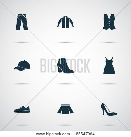 Dress Icons Set. Collection Of Stylish Apparel, Waistcoat, Sneakers And Other Elements. Also Includes Symbols Such As Footwear, Female, Dress.