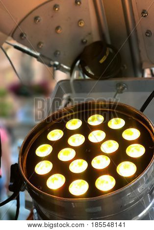 Spotlight backside professional equipment lighting emitting components meeting the professional photography and video