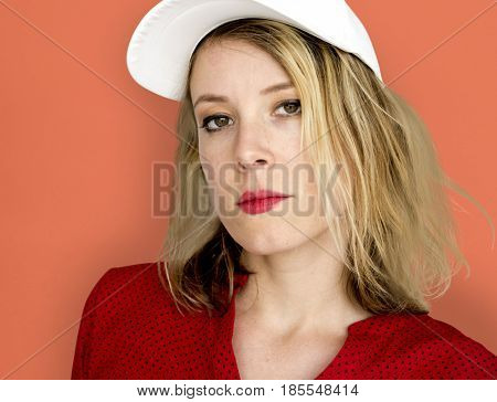 Caucasian Woman with a Red Lipstick Staring