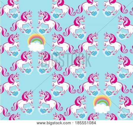 seamless pattern with cute unicorns and rainbow , vector illustration