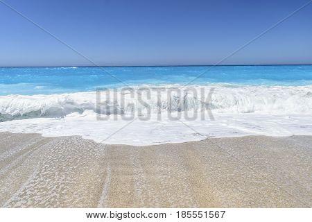 Sea wave foam on Karon beach Phuket Thailand. Exotic paradise of Thailand beach Asia. Peaceful ocean wave at beach. Perfect resort for relax. Ocean wave. Sea waves on beach. Sea beach