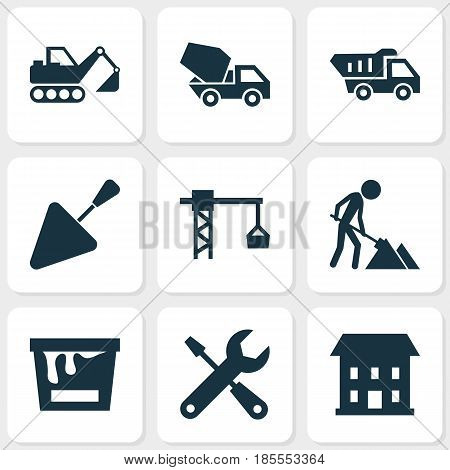 Building Icons Set. Collection Of Truck, Lifting Hook, Home And Other Elements. Also Includes Symbols Such As Construction, Excavator, Hook.