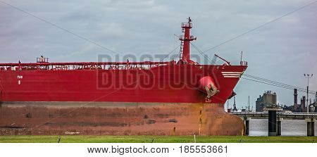 large cargo ship parked in international port