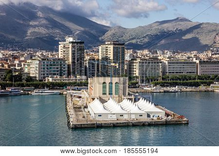 Palermo, Sicily - May 5, 2017: Palermo sea port, Sicily, Italy