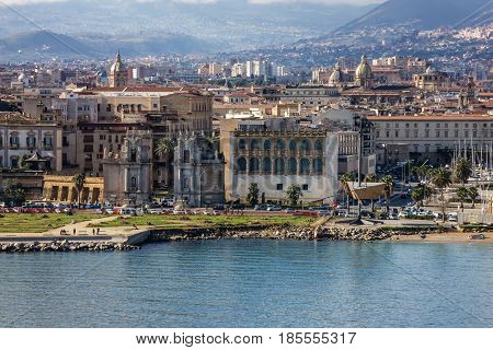 Palermo city architecture, Sicily, Italy. Seafront view