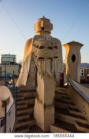 Barcelona, Spain - May 7, 2017: Casa Mila (La Pedrera) chimneys. Famous Catalan architect Anthoni Gaudi. UNESCO heritage