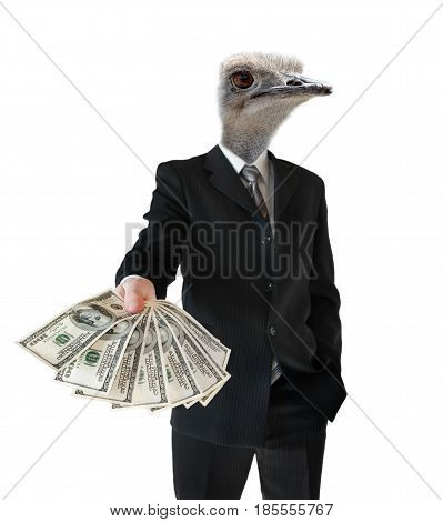 Caricature of a banker giving a loan on a white background