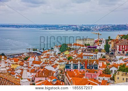 Lisbon town houses panoramic landscape view, Portugal
