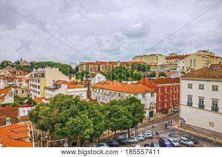 Lisbon city houses landscape, Portugal panoramic view