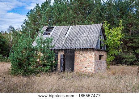 Desolate building in Mashevo ghost village Chernobyl Exclusion Zone Ukraine
