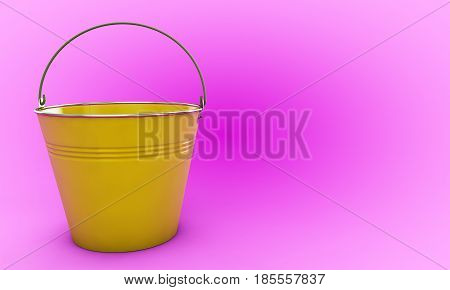 3d render Yellow Bucket with reflection Gardening, Iron, Can, Tin, Pail