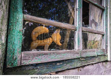 House in desolate Mashevo village in Chernobyl Exclusion Zone Ukraine