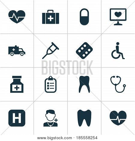 Antibiotic Icons Set. Collection Of Handicapped, Beating, Physician Elements. Also Includes Symbols Such As Rhythm, Care, Stethoscope.
