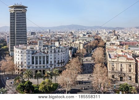 Barcelona, Spain - May 8, 2017: Barcelona Rambla street