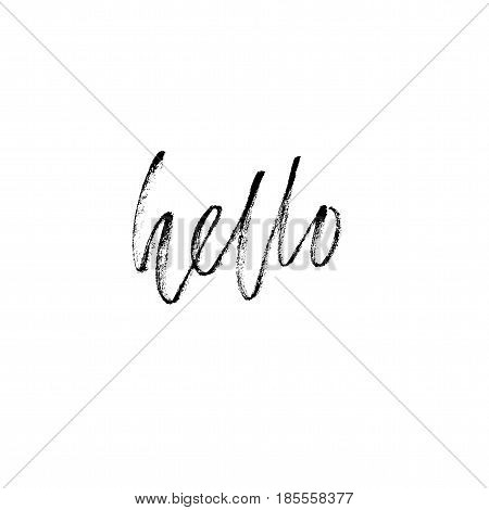 Hello hand drawn lettering. Modern calligraphy. Brush Pen lettering Hello. Handwritten vector Illustration